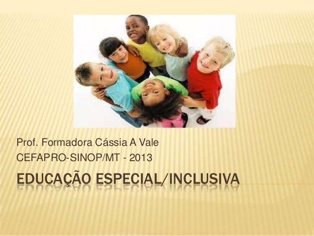 Prof. Formadora Cássia A Vale CEFAPRO-SINOP/MT - 2013  EDUCAÇÃO ESPECIAL/INCLUSIVA