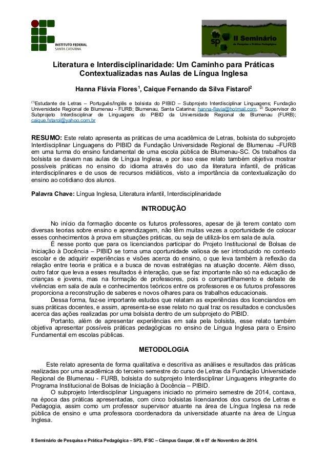 Literatura e Interdisciplinaridade: Um Caminho para Práticas Contextualizadas nas Aulas de Língua Inglesa Hanna Flávia Flo...