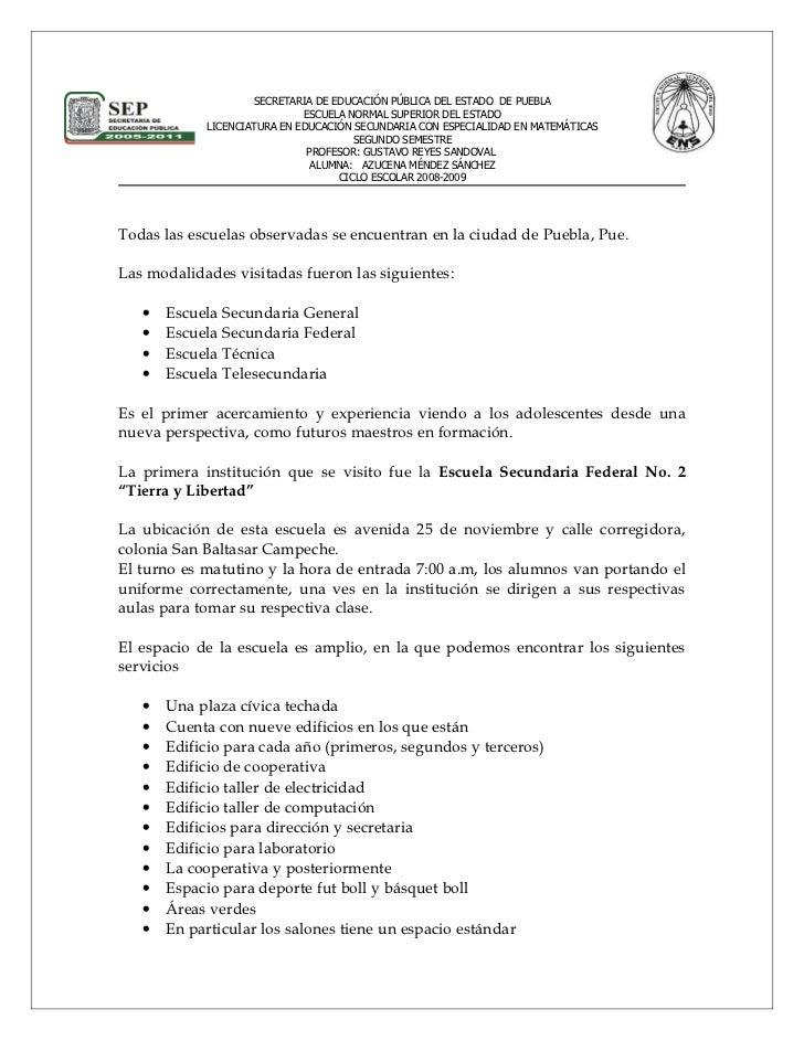 SECRETARIA DE EDUCACIÓN PÚBLICA DEL ESTADO DE PUEBLA                              ESCUELA NORMAL SUPERIOR DEL ESTADO      ...