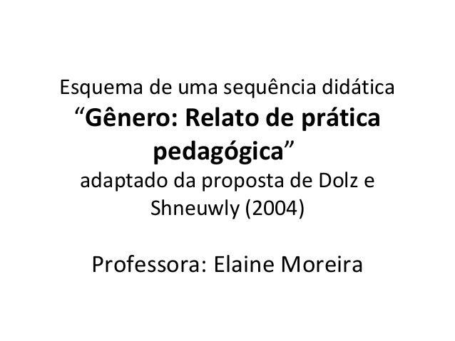 """Esquema de uma sequência didática  """"Gênero: Relato de prática pedagógica"""" adaptado da proposta de Dolz e Shneuwly (2004)  ..."""