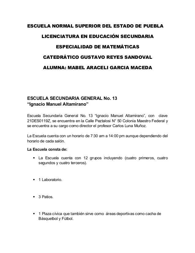 ESCUELA NORMAL SUPERIOR DEL ESTADO DE PUEBLA LICENCIATURA EN EDUCACIÓN SECUNDARIA ESPECIALIDAD DE MATEMÁTICAS CATEDRÁTICO ...