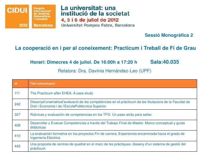 Sessió Monogràfica 2La cooperació en i per al coneixement: Practicum i Treball de Fi de Grau      Horari: Dimecres 4 de ju...