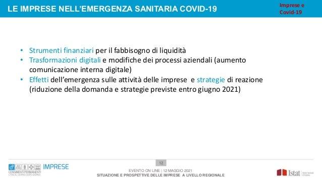 12 LE IMPRESE NELL'EMERGENZA SANITARIA COVID-19 EVENTO ON LINE | 12 MAGGIO 2021 SITUAZIONE E PROSPETTIVE DELLE IMPRESE A L...