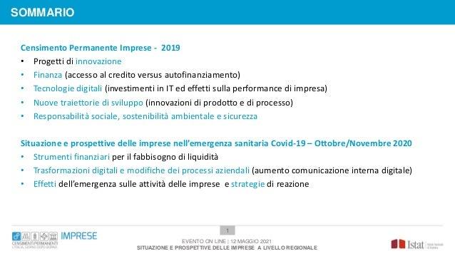 1 Censimento Permanente Imprese - 2019 • Progetti di innovazione • Finanza (accesso al credito versus autofinanziamento) •...