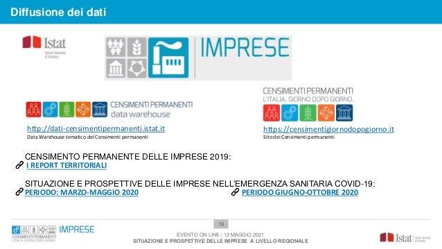 19 Diffusione dei dati EVENTO ON LINE | 12 MAGGIO 2021 SITUAZIONE E PROSPETTIVE DELLE IMPRESE A LIVELLO REGIONALE CENSIMEN...