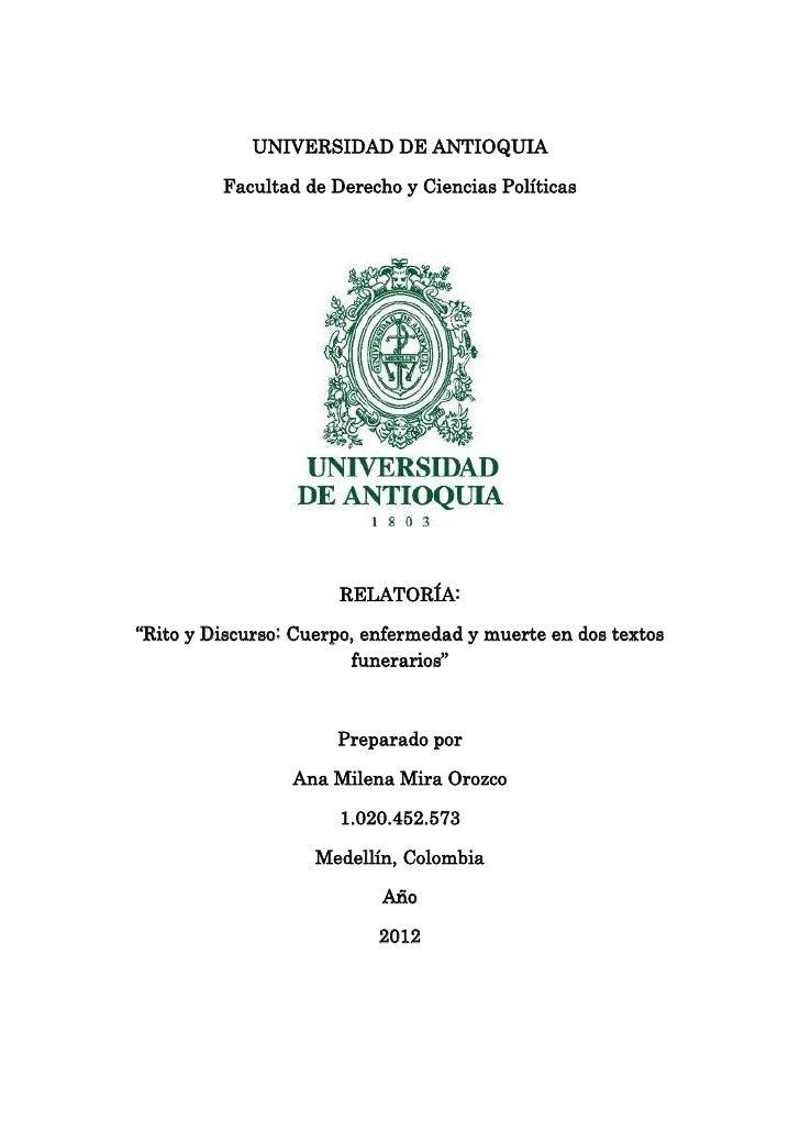 """UNIVERSIDAD DE ANTIOQUIA         Facultad de Derecho y Ciencias Políticas                      RELATORÍA:""""Rito y Discurso:..."""