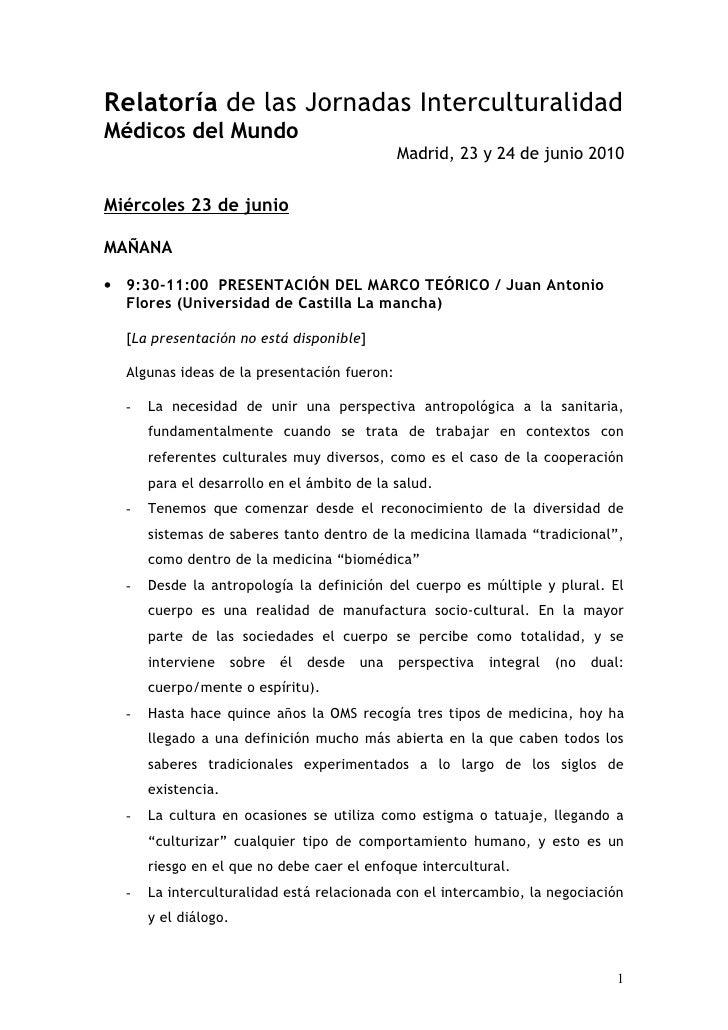 Relatoría de las Jornadas Interculturalidad Médicos del Mundo                                              Madrid, 23 y 24...