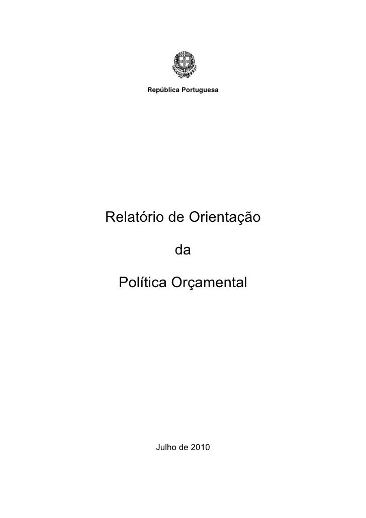 Relatorio Orientação Política Orçamental