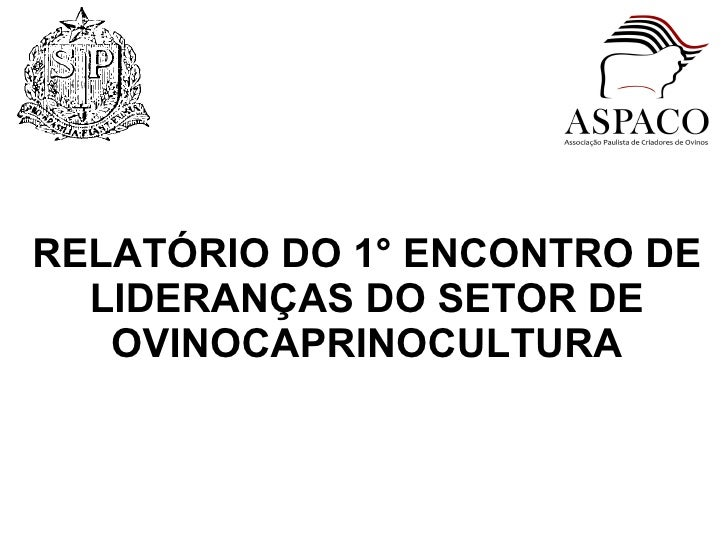 RELATÓRIO DO 1° ENCONTRO DE LIDERANÇAS DO SETOR DE OVINOCAPRINOCULTURA