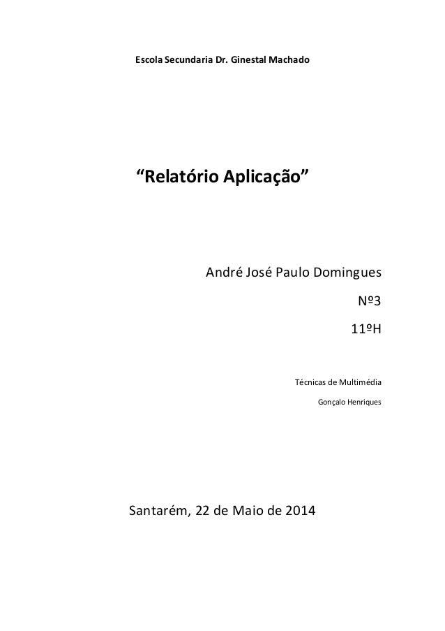 """Escola Secundaria Dr. Ginestal Machado """"Relatório Aplicação"""" André José Paulo Domingues Nº3 11ºH Técnicas de Multimédia Go..."""