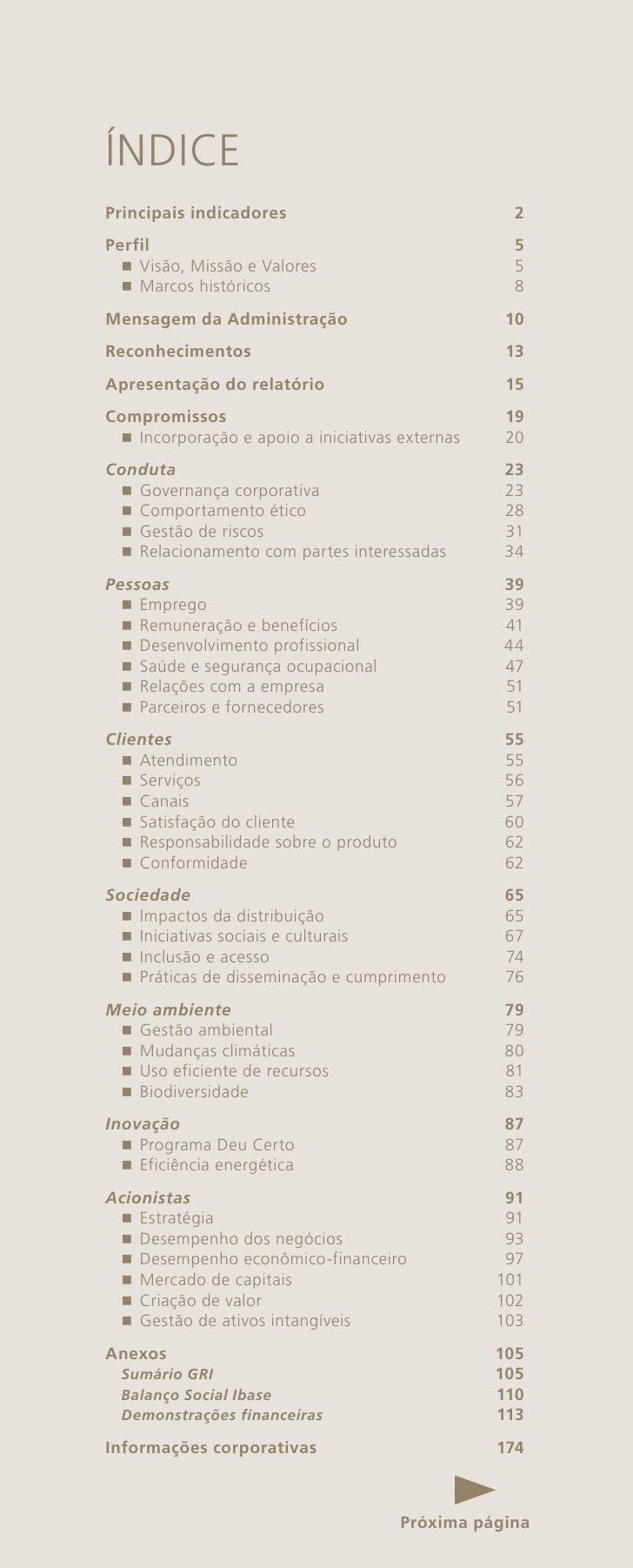 ÍNDICEPrincipais indicadores                             2Perfil                                             5  nVisão, M...