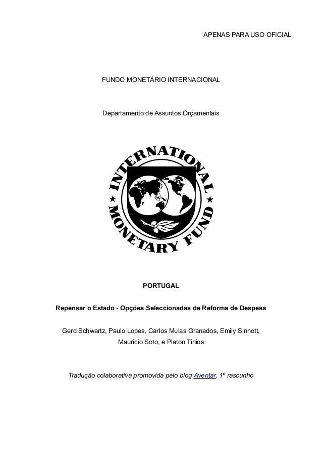 APENAS PARA USO OFICIAL              FUNDO MONETÁRIO INTERNACIONAL              Departamento de Assuntos Orçamentais      ...