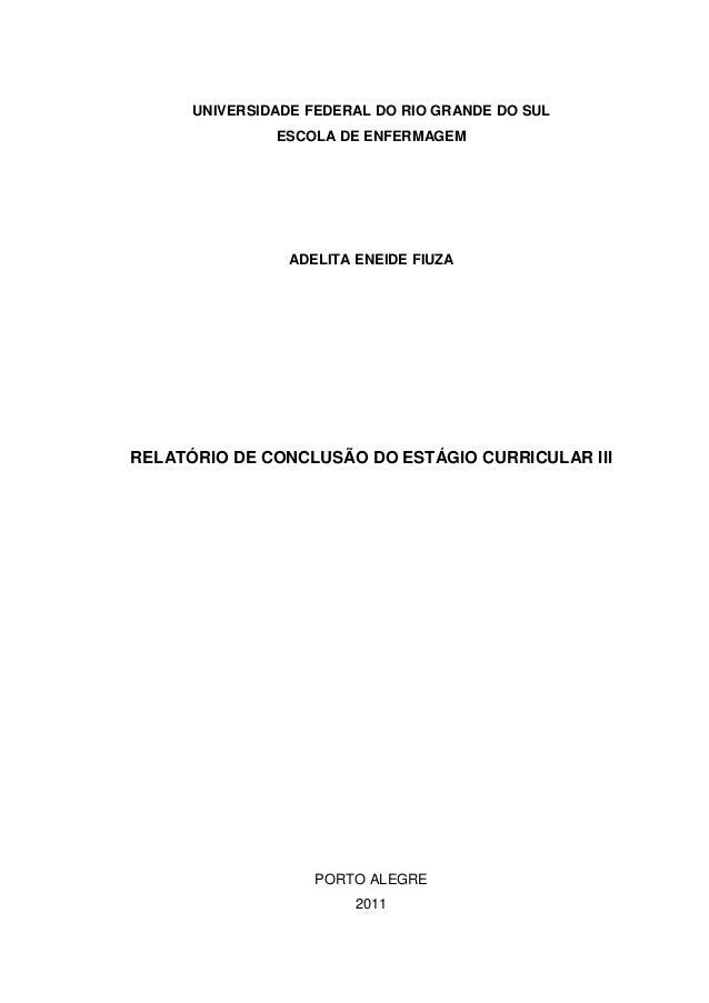 0 UNIVERSIDADE FEDERAL DO RIO GRANDE DO SUL ESCOLA DE ENFERMAGEM ADELITA ENEIDE FIUZA RELATÓRIO DE CONCLUSÃO DO ESTÁGIO CU...