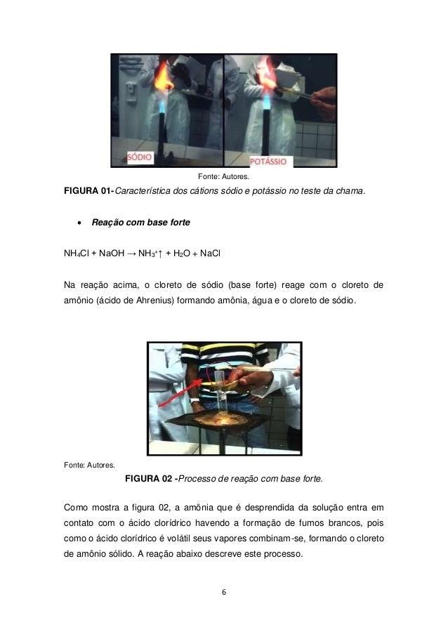 Fonte: Autores.  FIGURA 01-Característica dos cátions sódio e potássio no teste da chama.  6   Reação com base forte  NH4...
