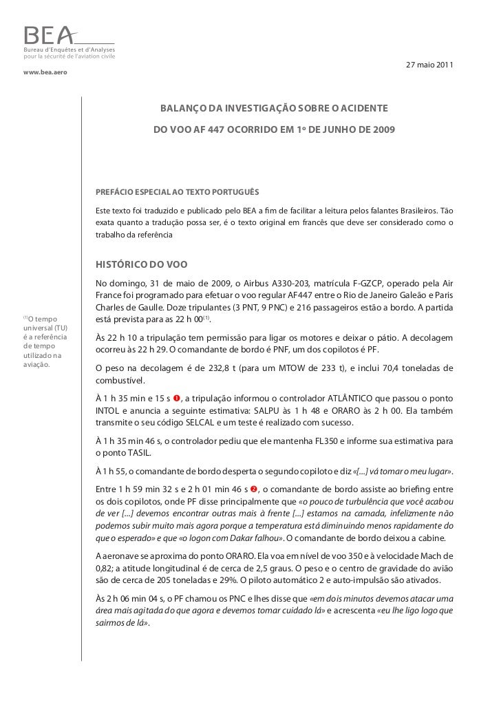 27 maio 2011www.bea.aero                                    Balanço da investigação soBre o acidente                      ...