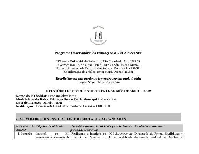 Programa Observatório da Educação/MEC/CAPES/INEP                            IES sede: Universidade Federal do Rio Grande d...