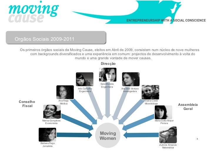 Orgãos Sociais 2009-2011  Os primeiros órgãos sociais da Moving Cause, eleitos em Abril de 2009, consistem num núcleo de n...