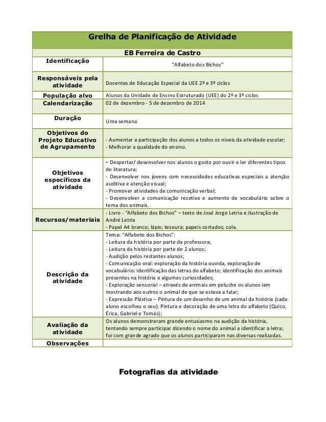"""Fotografias da atividade Grelha de Planificação de Atividade EB Ferreira de Castro Identificação """"Alfabeto dos Bichos"""" Res..."""