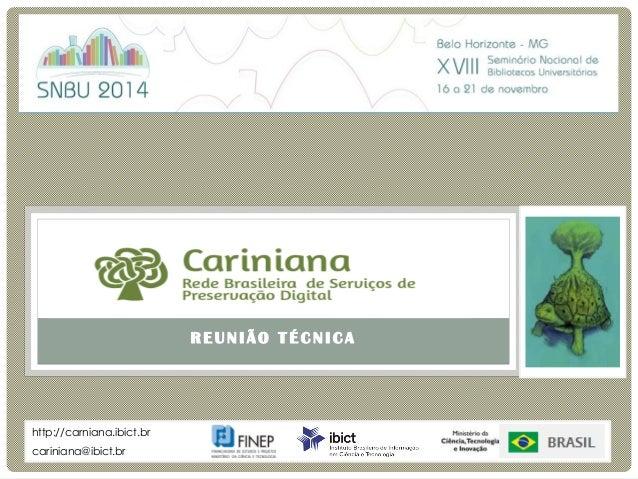 R E U N I Ã O T É C N I C A  Cariniana  Rede Brasileira de Serviços de Preservação Digital  cariniana@ibict.br  http://car...