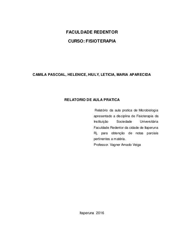 FACULDADE REDENTOR CURSO: FISIOTERAPIA CAMILA PASCOAL, HELENICE, HIULY, LETICIA, MARIA APARECIDA RELATORIO DE AULA PRATICA...