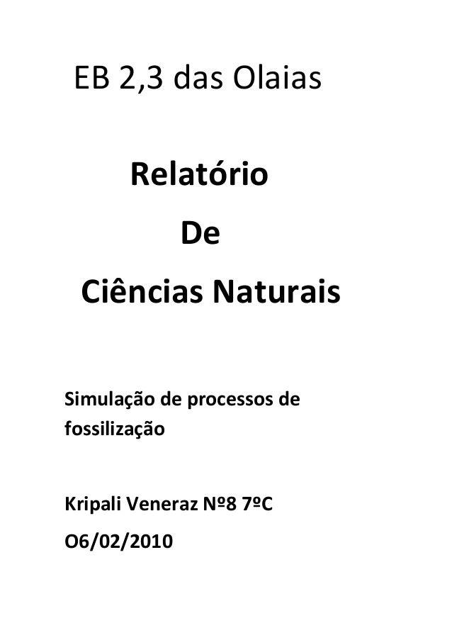 EB 2,3 das Olaias Relatório De Ciências Naturais Simulação de processos de fossilização  Kripali Veneraz Nº8 7ºC O6/02/201...