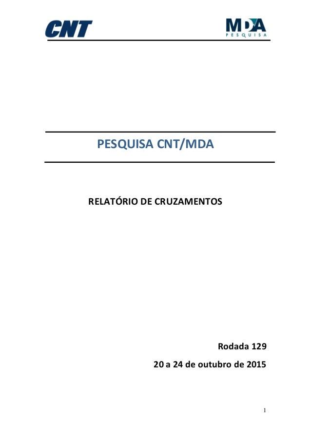 1 PESQUISA CNT/MDA RELATÓRIO DE CRUZAMENTOS Rodada 129 20 a 24 de outubro de 2015
