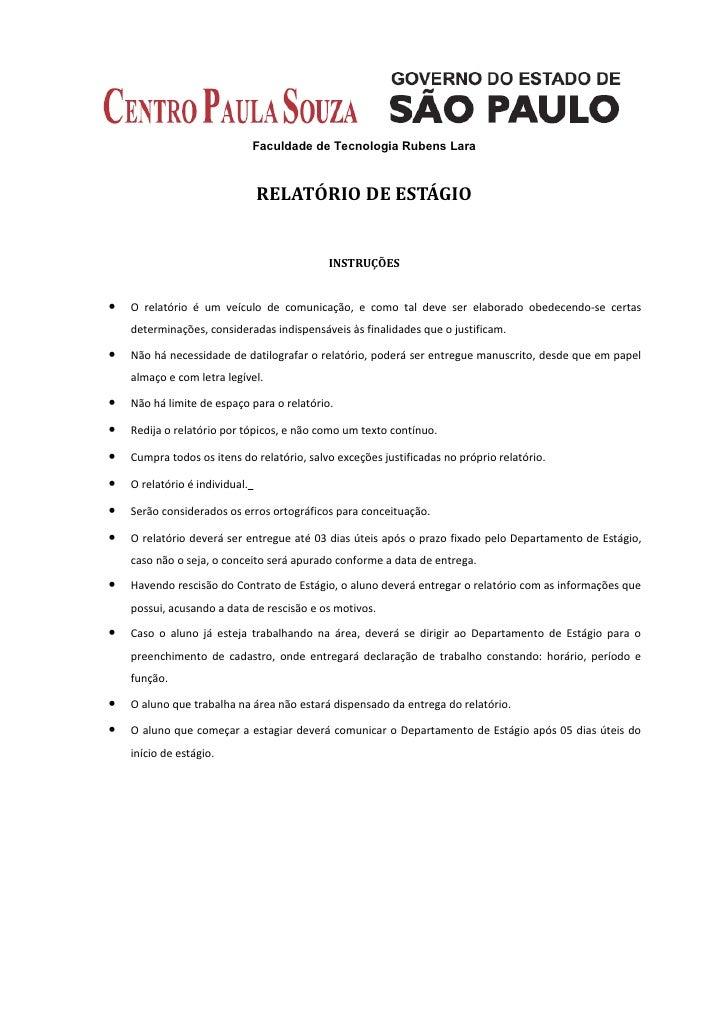 Faculdade de Tecnologia Rubens Lara                                RELATÓRIO DE ESTÁGIO                                   ...