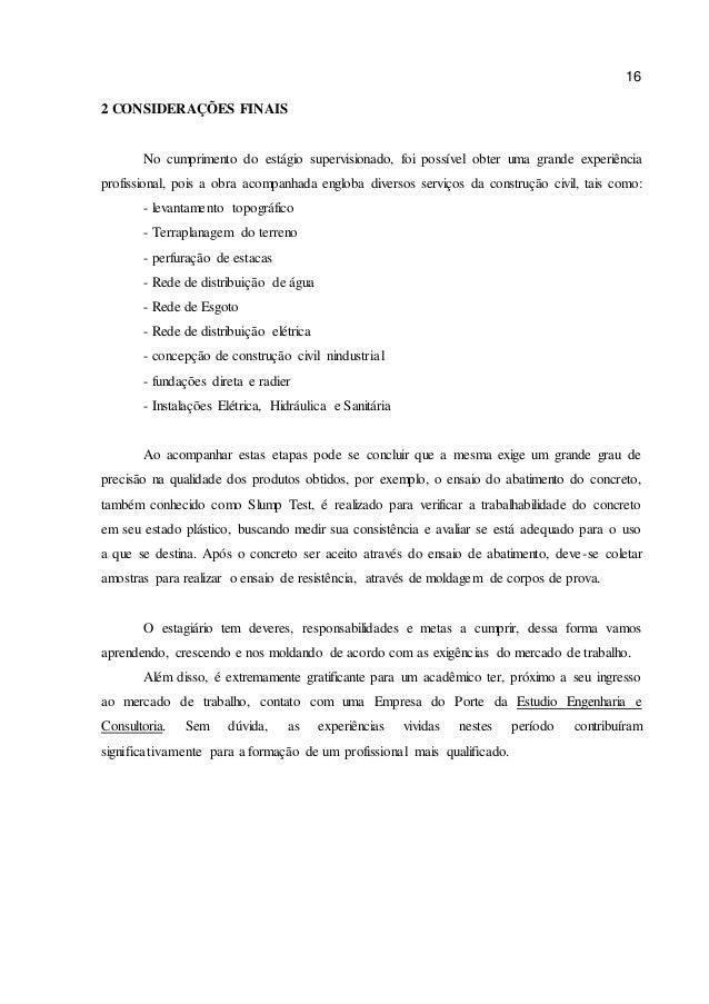 Exemplo de conclusão relatorio de estagio