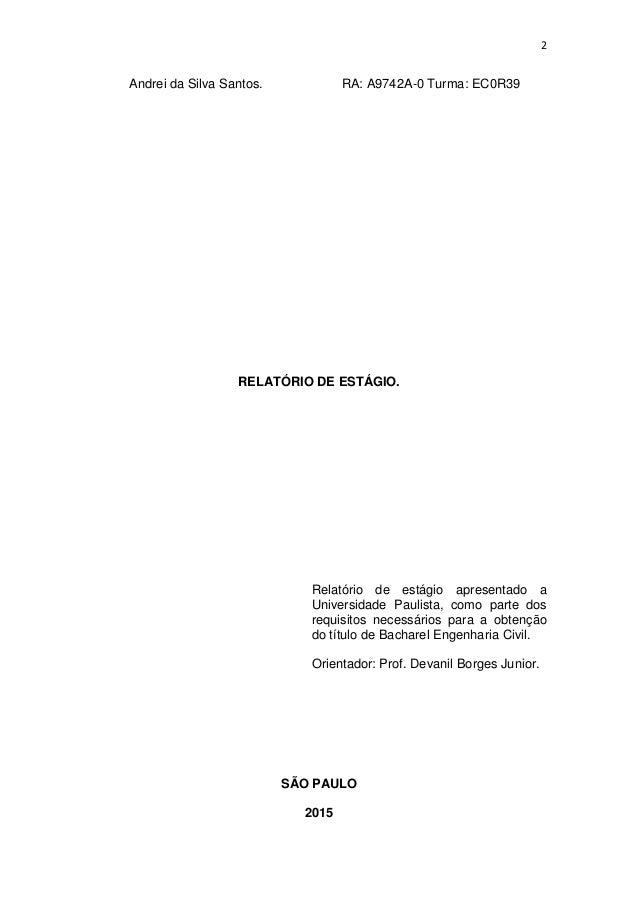 relatório de estagio engenharia civil unip