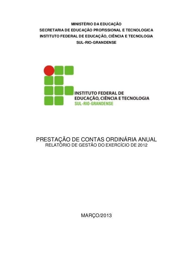 MINISTÉRIO DA EDUCAÇÃO SECRETARIA DE EDUCAÇÃO PROFISSIONAL E TECNOLOGICA INSTITUTO FEDERAL DE EDUCAÇÃO, CIÊNCIA E TECNOLOG...