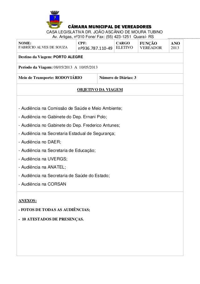 CÂMARA MUNICIPAL DE VEREADORESCASA LEGISLATIVA DR. JOÃO ASCÂNIO DE MOURA TUBINOAv. Artigas, nº310 Fone/ Fax: (55) 423-1251...