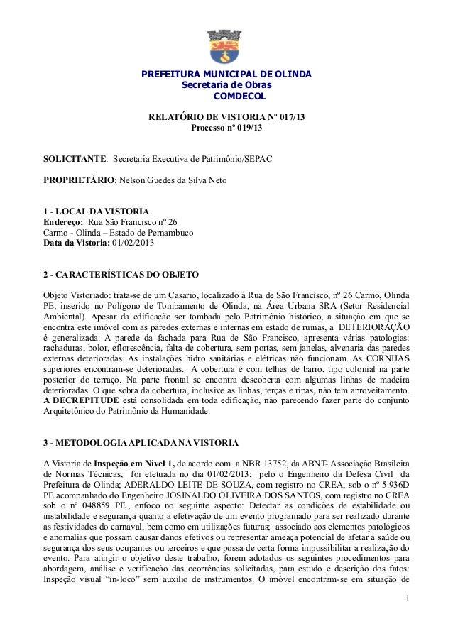 PREFEITURA MUNICIPAL DE OLINDA                                 Secretaria de Obras                                        ...