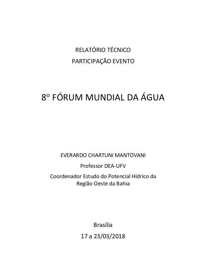 RELATÓRIO TÉCNICO PARTICIPAÇÃO EVENTO 8o FÓRUM MUNDIAL DA ÁGUA EVERARDO CHARTUNI MANTOVANI Professor DEA-UFV Coordenador E...