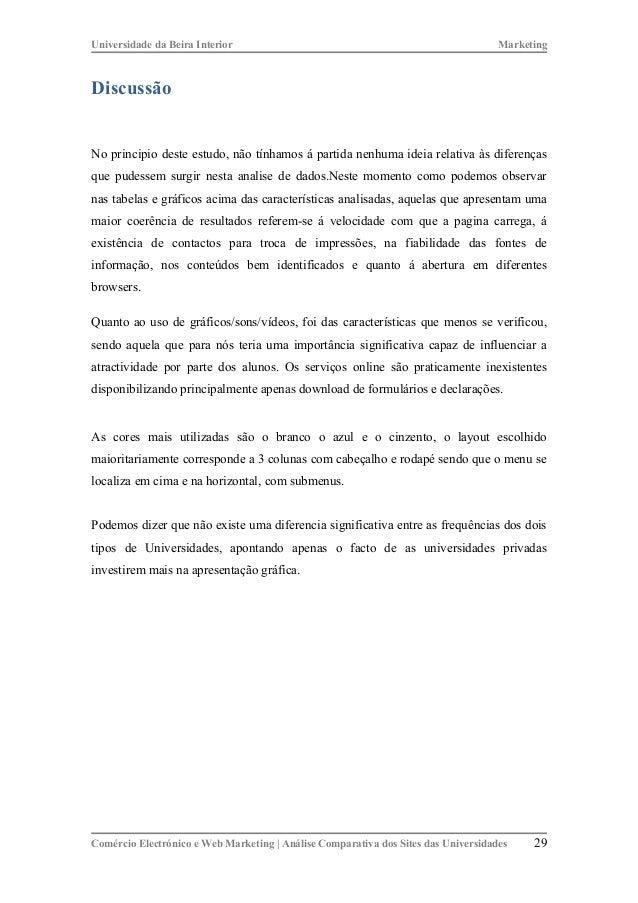 89532496162 Web Marketing - Análise Comparativa dos Web sites de Universidades Po…