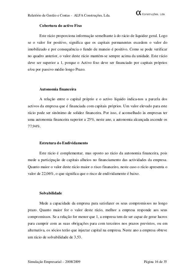 relatorio final alfa construã§ãµes, lda910 Relatorio Empresarial Como Fazer #5