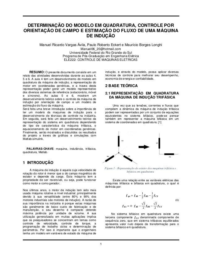 DETERMINAÇÃO DO MODELO EM QUADRATURA, CONTROLE PORORIENTAÇÃO DE CAMPO E ESTIMAÇÃO DO FLUXO DE UMA MÁQUINA                 ...