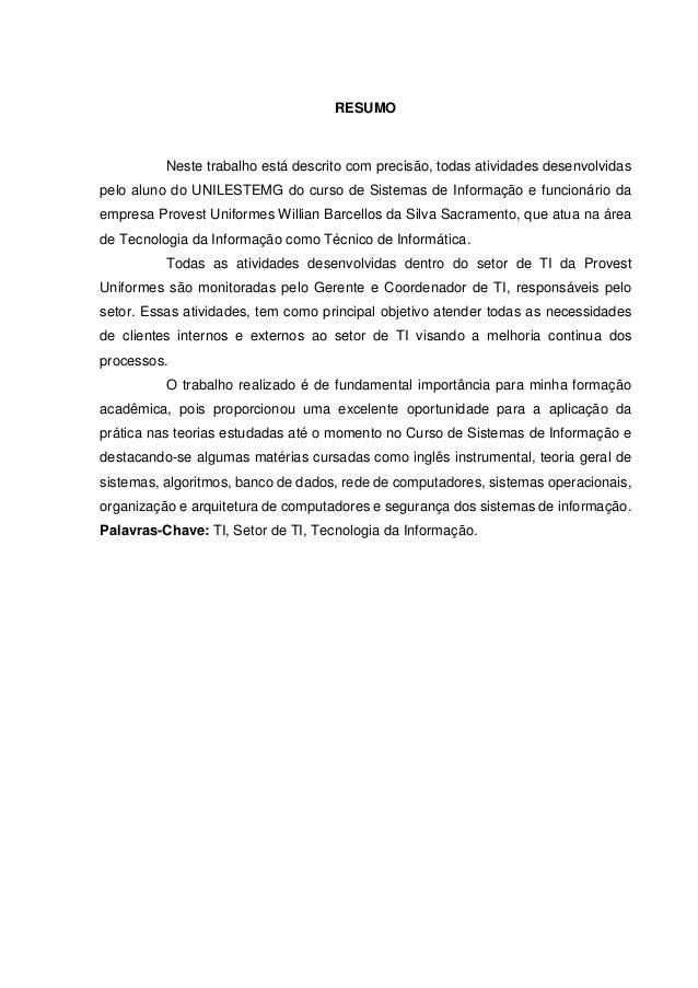 relatório de estágio do curso de sistemas de informação unilestemg \u202641105 Resumo De Relatorio De Estagio Supervisionado #4