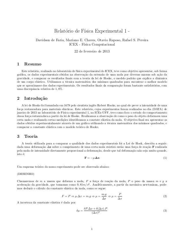 Relat´rio de F´                                  o        ısica Experimental 1 -              Davidson de Faria, Mariano E...