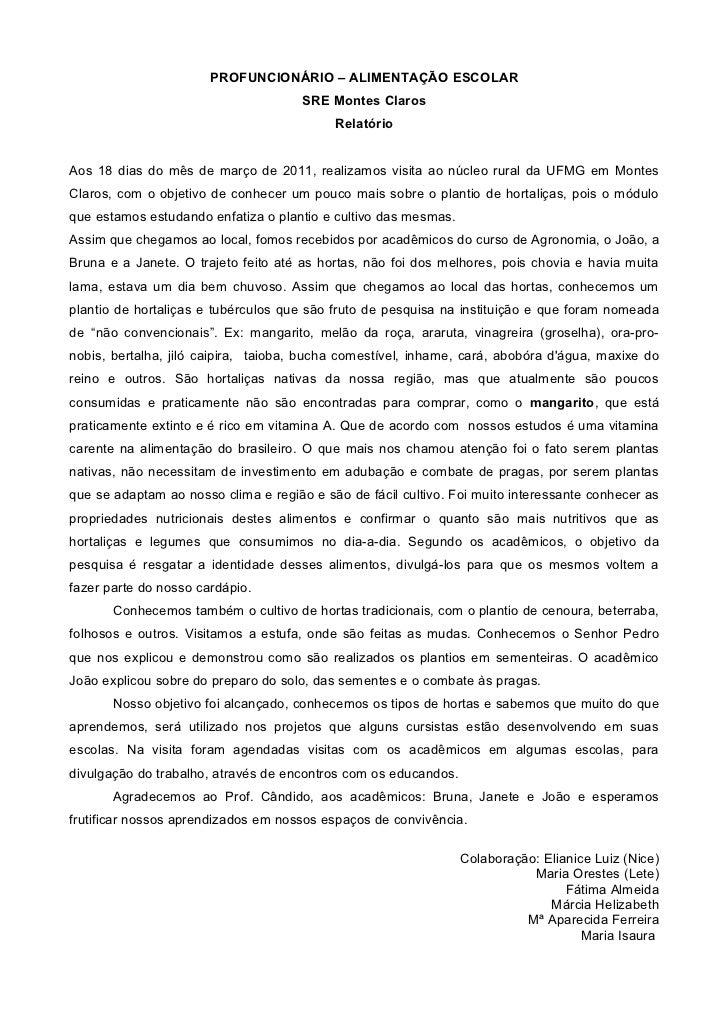 PROFUNCIONÁRIO – ALIMENTAÇÃO ESCOLAR                                      SRE Montes Claros                               ...