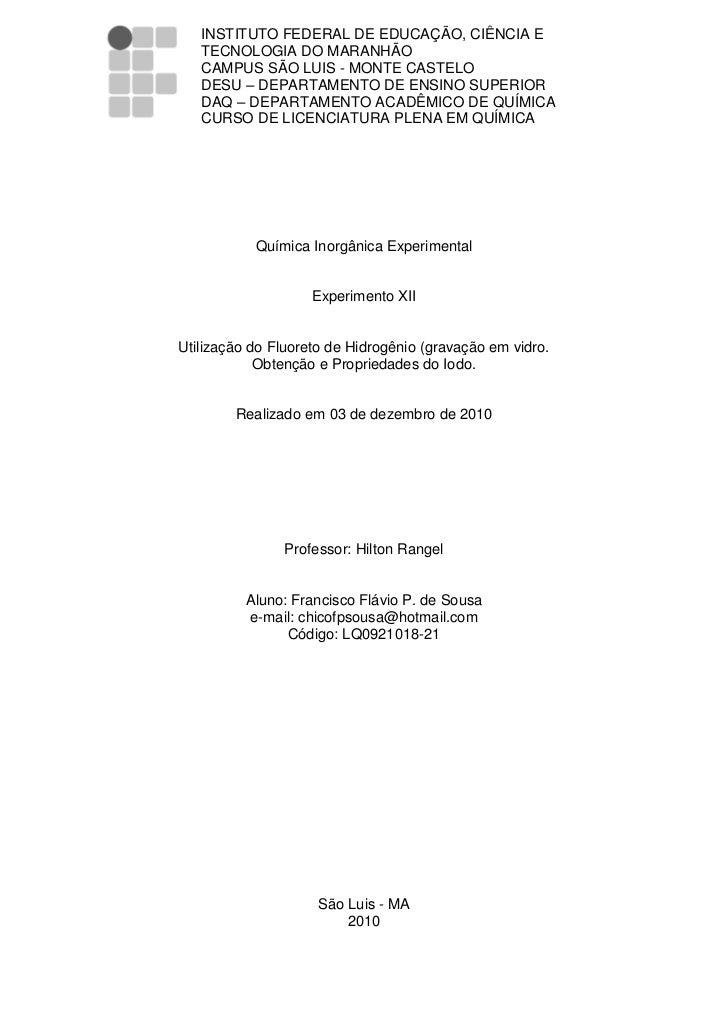INSTITUTO FEDERAL DE EDUCAÇÃO, CIÊNCIA E   TECNOLOGIA DO MARANHÃO   CAMPUS SÃO LUIS - MONTE CASTELO   DESU – DEPARTAMENTO ...