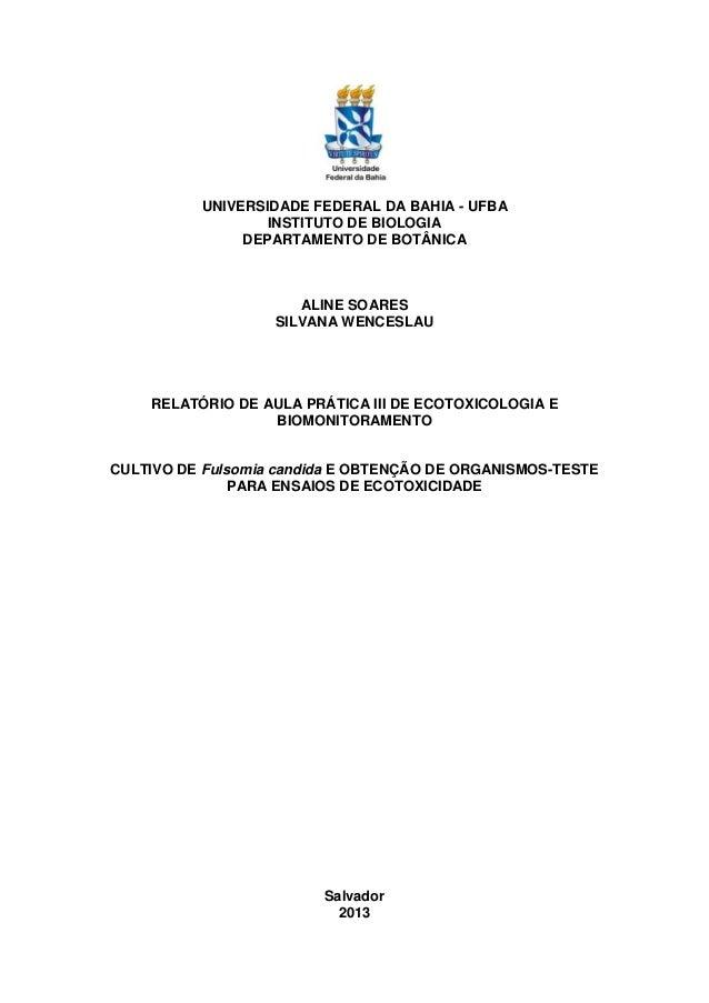 UNIVERSIDADE FEDERAL DA BAHIA - UFBA INSTITUTO DE BIOLOGIA DEPARTAMENTO DE BOTÂNICA ALINE SOARES SILVANA WENCESLAU RELATÓR...