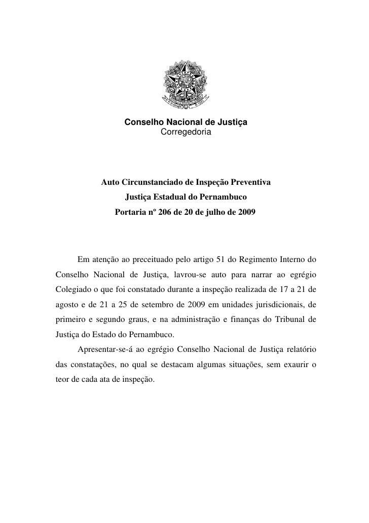 Conselho Nacional de Justiça                            Corregedoria                  Auto Circunstanciado de Inspeção Pre...