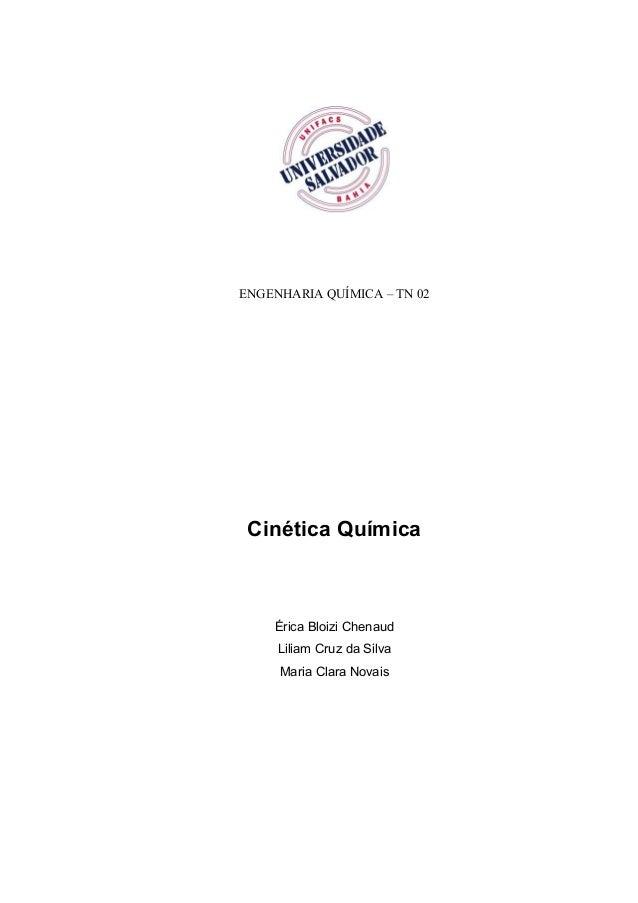 ENGENHARIA QUÍMICA – TN 02 Cinética Química Érica Bloizi Chenaud Liliam Cruz da Silva Maria Clara Novais