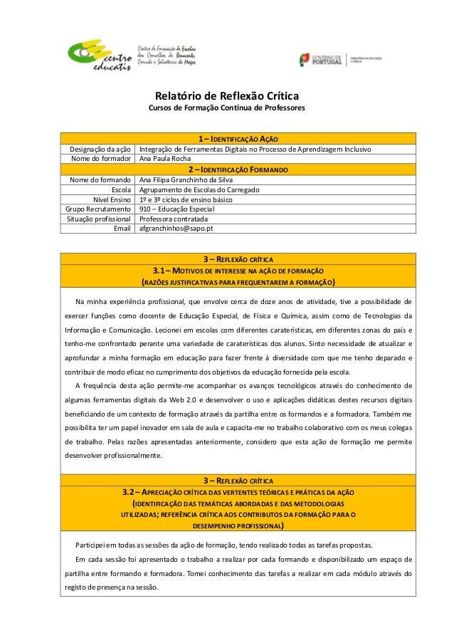 Relatório  de  Reflexão  Crítica   Cursos  de  Formação  Contínua  de  Professores      ...
