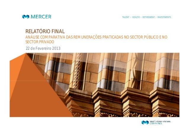 RELATÓRIO FINALANÁLISE COMPARATIVA DAS REMUNERAÇÕES PRATICADAS NO SECTOR PÚBLICO E NOSECTOR PRIVADO22 de Fevereiro 2013