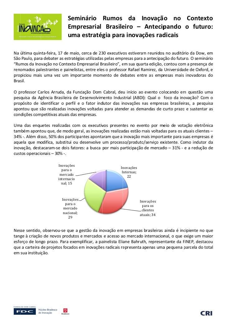 Seminário Rumos da Inovação no Contex                                                                     o          ...