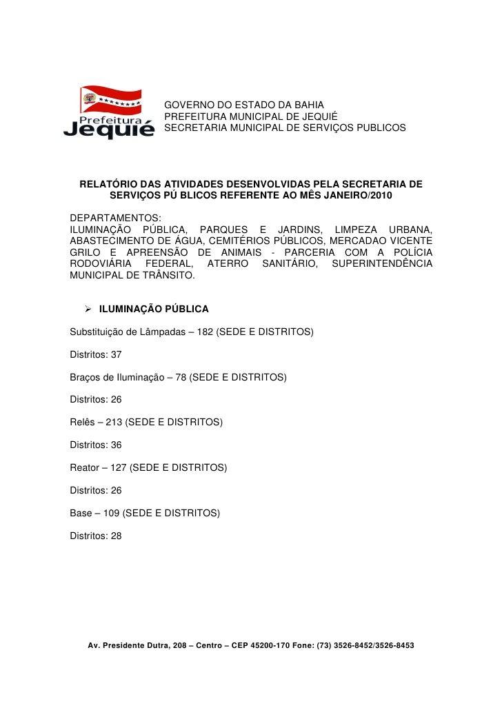 GOVERNO DO ESTADO DA BAHIA                       PREFEITURA MUNICIPAL DE JEQUIÉ                       SECRETARIA MUNICIPAL...