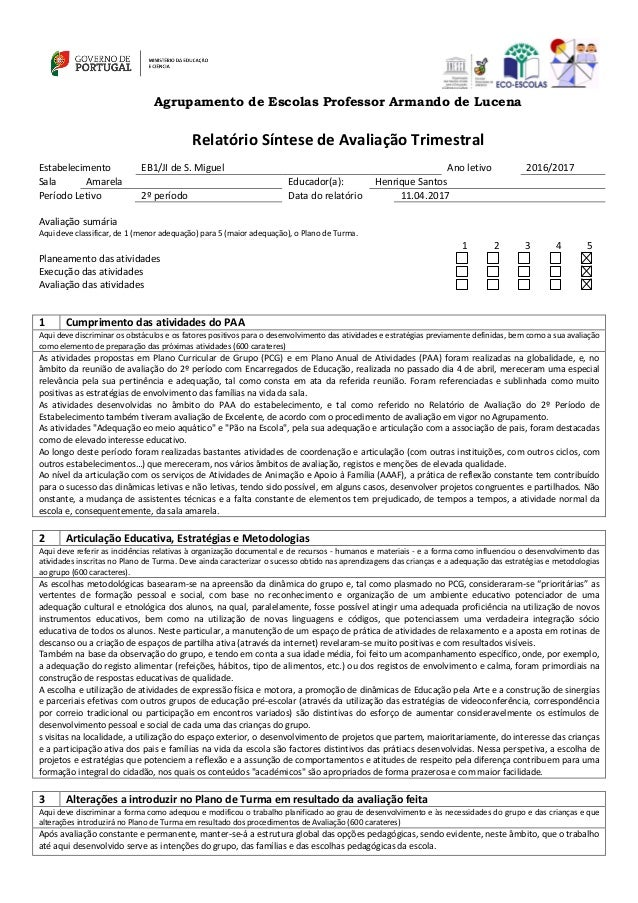 Agrupamento de Escolas Professor Armando de Lucena Relatório Síntese de Avaliação Trimestral Estabelecimento EB1/JI de S. ...