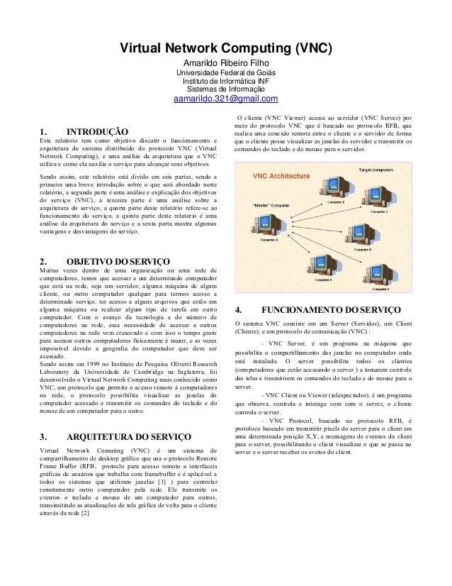 Virtual Network Computing (VNC) Amarildo Ribeiro Filho Universidade Federal de Goiás Instituto de Informática INF Sistemas...