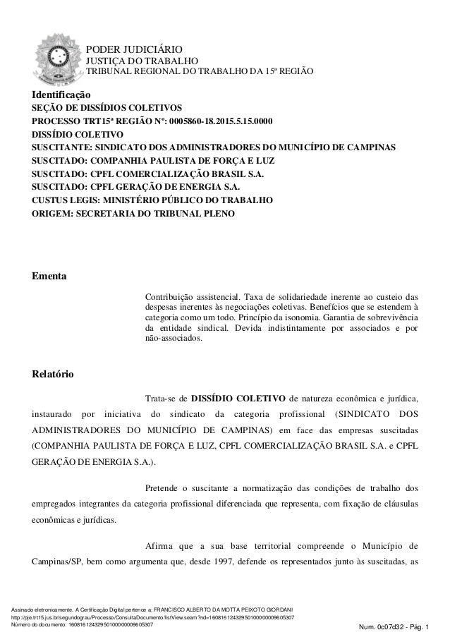PODER JUDICIÁRIO JUSTIÇA DO TRABALHO TRIBUNAL REGIONAL DO TRABALHO DA 15ª REGIÃO Identificação SEÇÃO DE DISSÍDIOS COLETIVO...